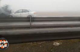 صحنه و لحظه برخورد خودروها در جاده مشهد