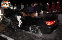 متلاشی شدن BMW پس از تصادف با ستونهای پل هوایی + تصاویر